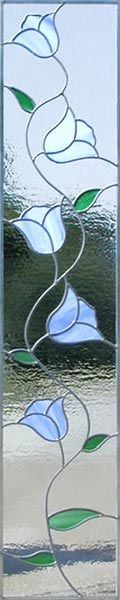 ZOOM to Tulips Side stained glass window custom glass design