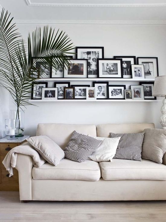 Photo wall/shelves. Like this idea, maybe spread the shelves a bit and put a quote on the wall in between!
