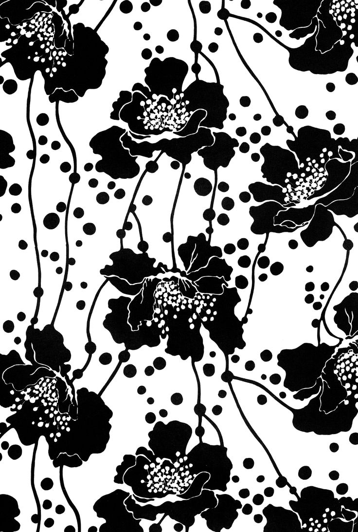 Monochrome Floral Print - black & white pattern design