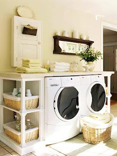 A table on top of the washer/dryer!  Love this laundry room :)