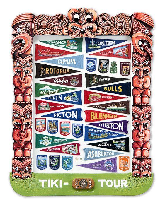 Lester Hall, Artist, Bay of Islands, Kiwiana Series. Tiki Tour, love it!