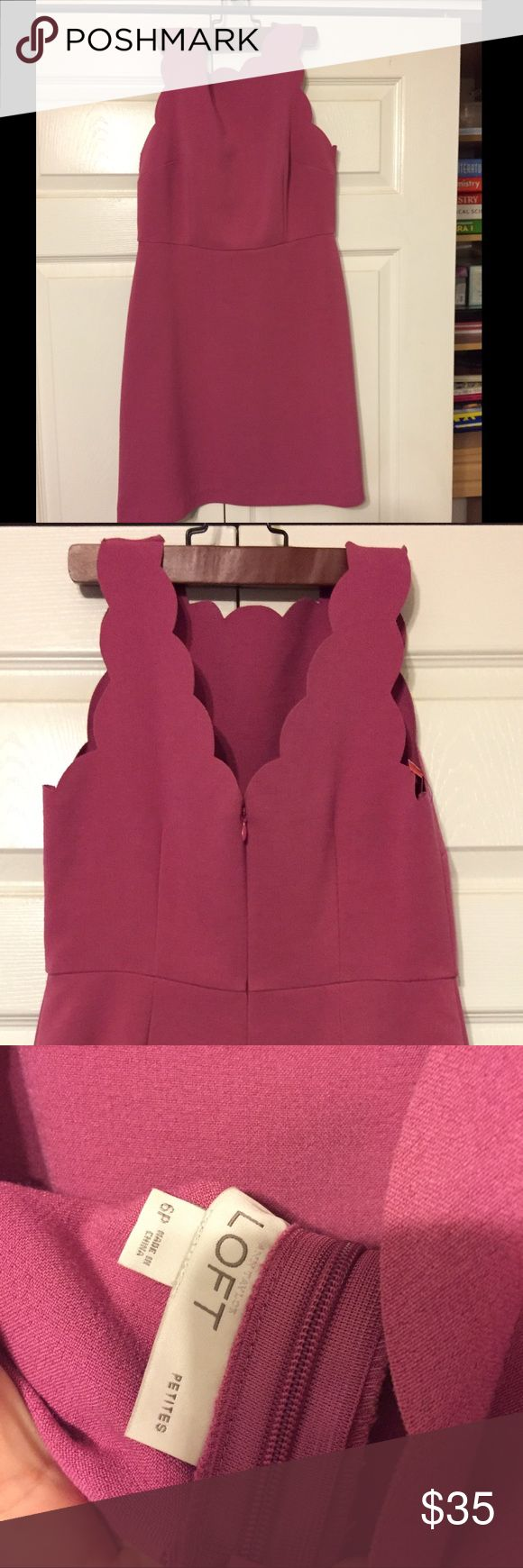 The Loft dress with scalloped detail! Beautiful Loft dress, soft with a little stretch, soft magenta color The Loft Dresses Mini