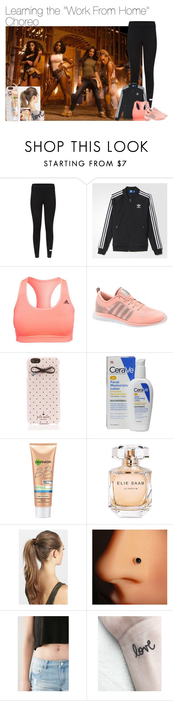 """""""Learning the """"Work From Home"""" Choreography"""" by itsmaddiewoolsey ❤ liked on Polyvore featuring adidas, Kate Spade, CeraVe, Miracle Skin Transformer, Elie Saab, France Luxe and Forever 21"""