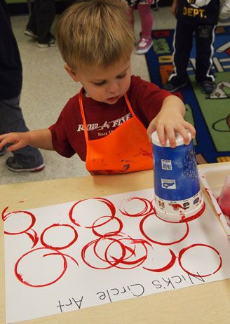 "3yr preschool create ""circle"" art work - learning shapes,Artist Study , circles , Art Featuring Circles, Inspiration for CAPI Students at milliande.com , circles, kreis, symbology , metaphor, emotion, idea, art"
