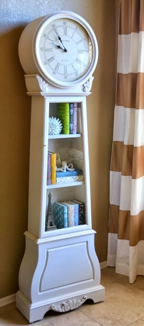 All You Need Is Love.... and Paint. Painted grandfather clock with shelves, I would do a fun color, like turquoise.