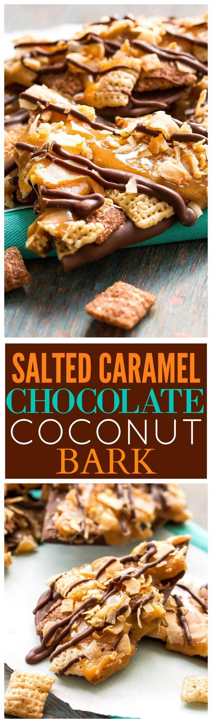 This Salted Caramel Chocolate Coconut Bark reminds me of a Samoa cookie! A fast and easy dessert! the-girl-who-ate-everything.com