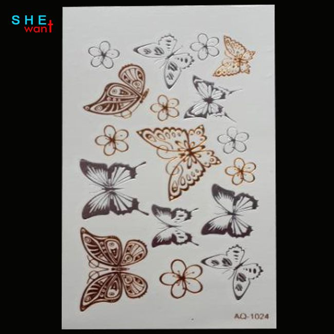 free shipping Waterproof metal henna temporary tattoo stickers flash tattoo butterfly Temporary tattoos Body Art Tattoo
