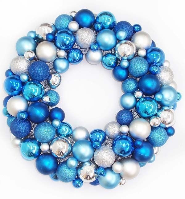Blue Christmas Wreaths Blue Turquoise And Silver