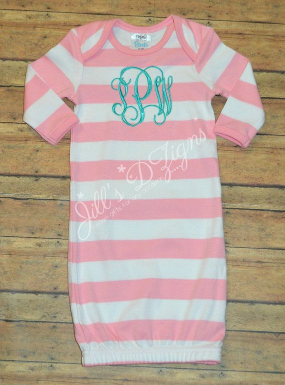 Personalized custom monogrammed name pink and white baby gown going home outfit Any color thread, Baby shower Newborn, Hospital outfit on Etsy, $33.50 Purple