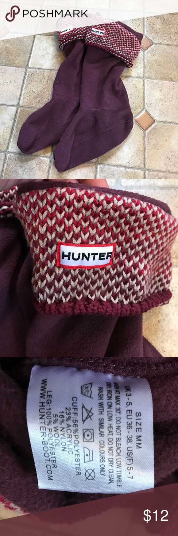 Women's HUNTER fleece boot liner / socks medium Women's hunter boot liners size medium (fits shoe sizes 5-7). Maroon color with knit tops. Excellent used condition- no rips/stains etc. Hunter Other
