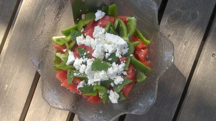 Fetaost & vattenmelon samt grön paprika