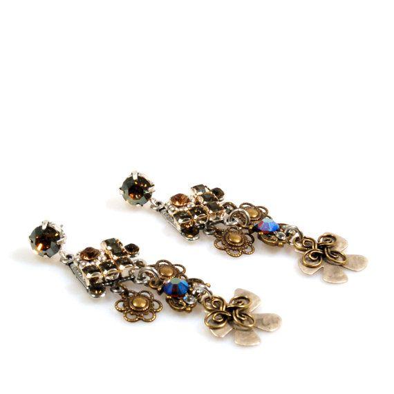 Swarovski oorbellen zilver brons, bohemian oorbellen lang, hang oorbellen boho, gypsy sieraden Swarovski, kerstcadeau handgemaakt