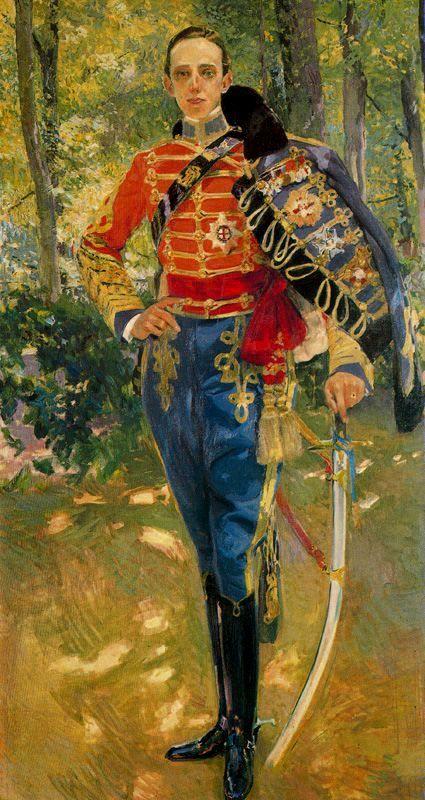 Retrato del Rey Don Alfonso XIII con el uniforme de húsares. Palacio Real. 1907. Sorolla