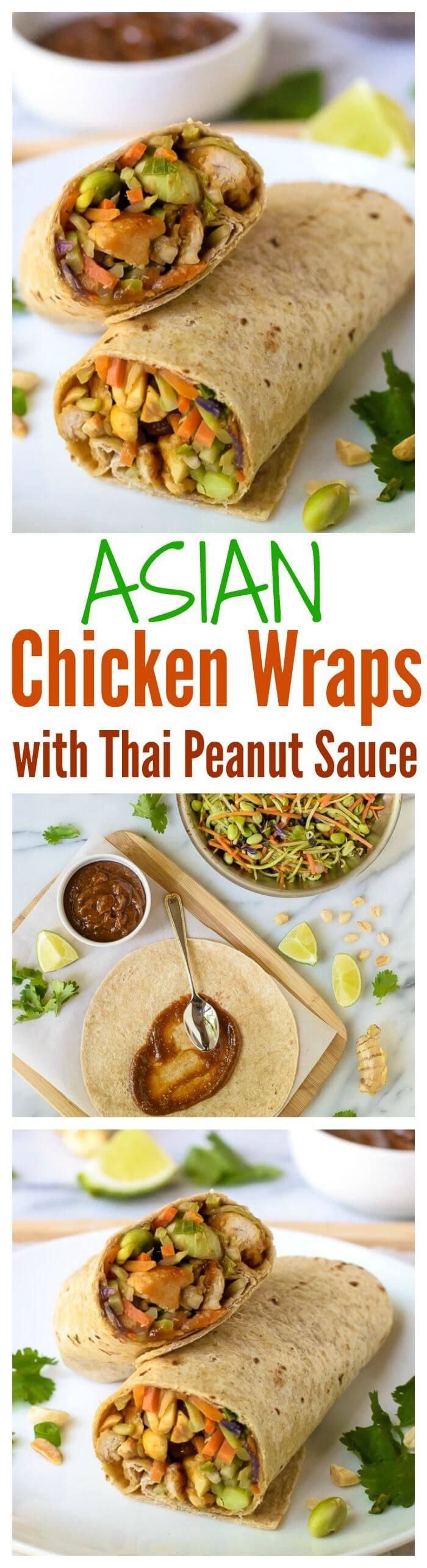 Asian Chicken Wraps with Thai Peanut Sauce. Ready in only 30 minutes and perfect for lunch or dinner