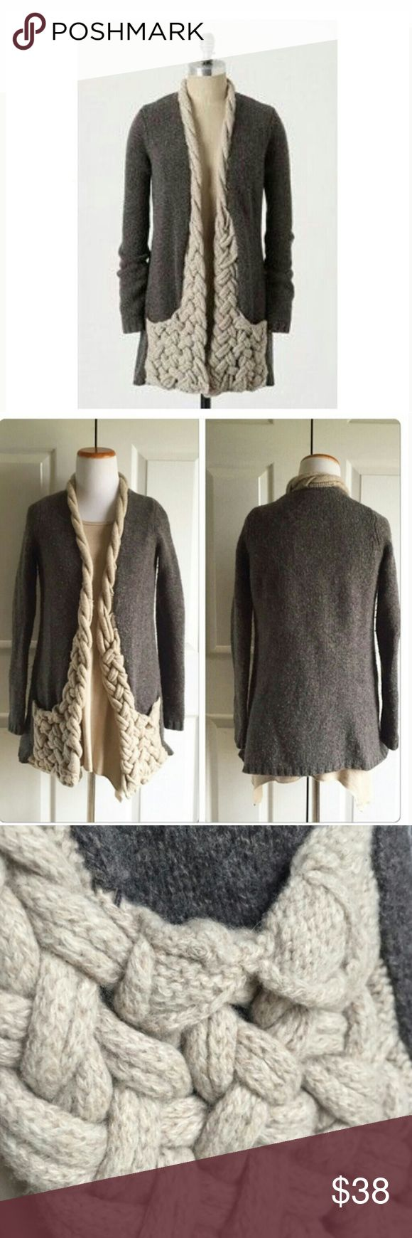 BF SALE 🎁 Anthropology Sparrow Braided Cardigan Amazing sweater by Sparrow! Has adorable adorable braiding detail, pockets, and is 100% lambs wool! Rare piece in great condition  ON SALE FOR BLACK FRIDAY Anthropologie Sweaters Cardigans