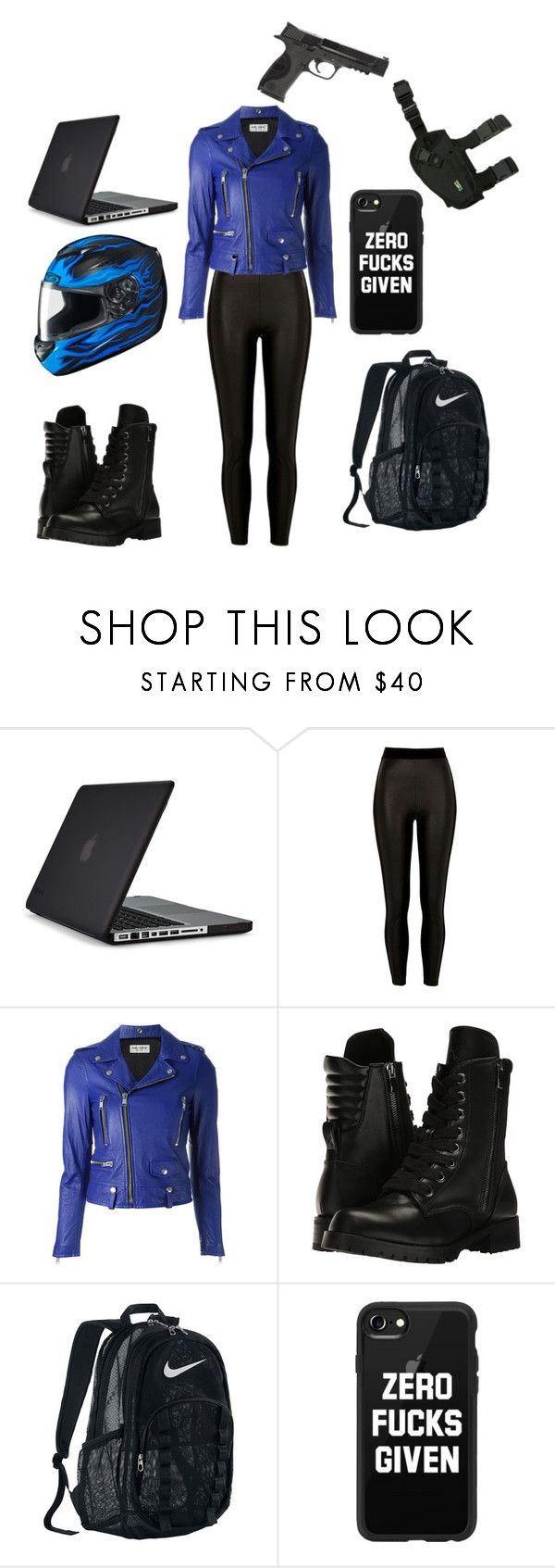 """""""Alice's Motorcycle outfit"""" by willowbean-1 on Polyvore featuring Speck, River Island, Yves Saint Laurent, Capezio, NIKE, Casetify and Smith & Wesson"""