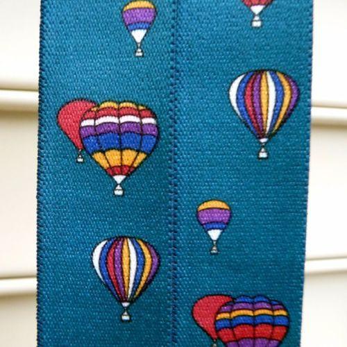 FUN-CAS-Vintage-Hot-Air-Balloon-Blue-Elastic-Leather-Mens-Braces