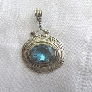 turkish aquamarine inspired wire wrapped pendant 925 sterling