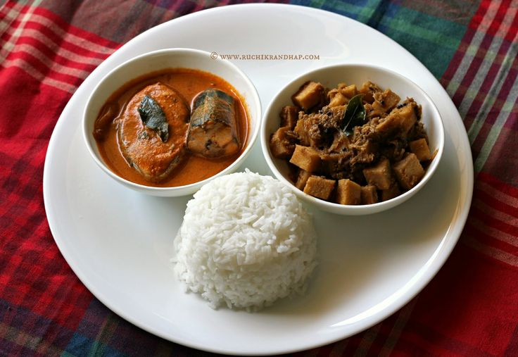 Ruchik Randhap (Delicious Cooking): Mangalorean Plated Meal Series - Boshi # 5 - Special Ison/Surmai Curry, Soorn (Yam) Sukka & White Rice