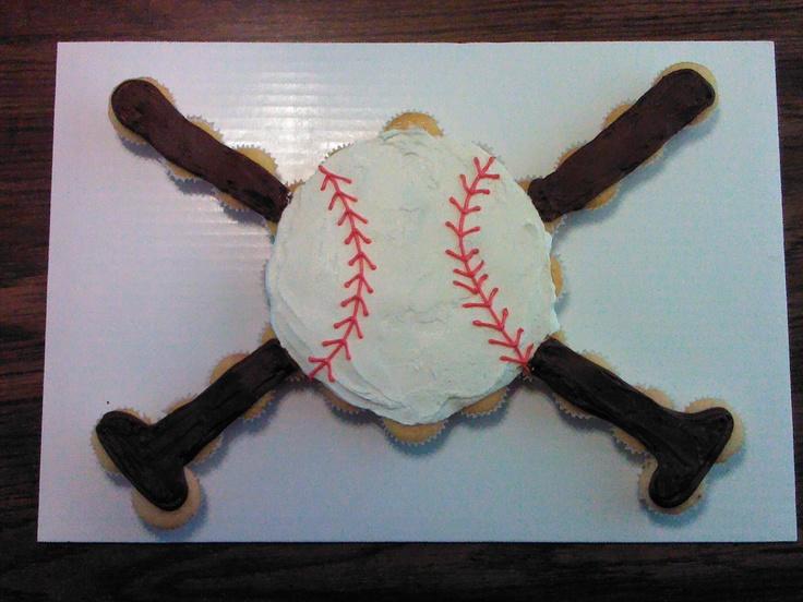 Baseball and Bat Cupcake Cake ~~I want this for my birthday!