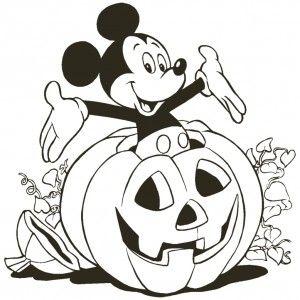 Disney Topolino che esce dalla zucca di Halloween da colorare
