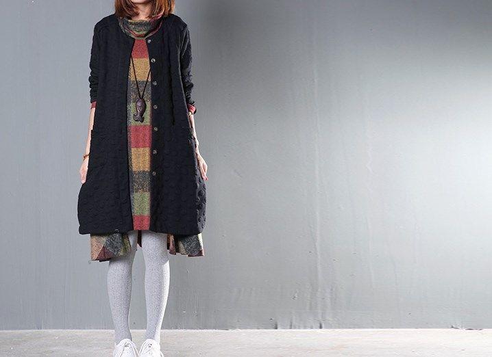 Осенью и Зимой Платье Плюс Размер Одежды Свободные Платья Женщин Водолазка Нерегулярные Полный Платье Плед С Длинным Рукавом Зимний Платье купить на AliExpress