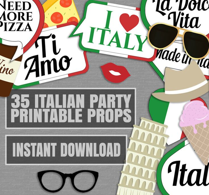 35 Italian Photo Booth Props, Italy themed party props, love rome party, italia photobooth sign, italian flag pizza props, instant download by YouGrewPrintables on Etsy
