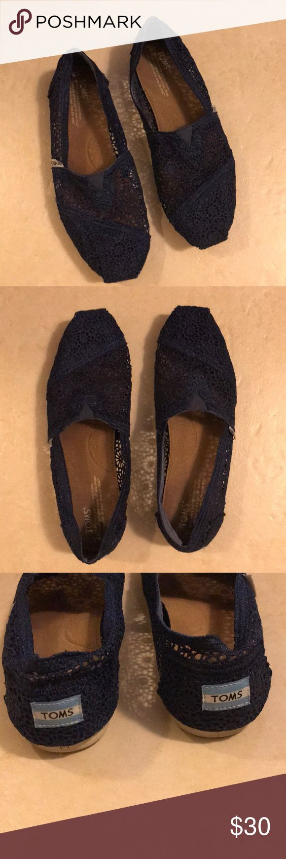 Navy Lace Toms Toms lace flats in navy blue. Worn a bit, but you can only tell by looking at the soles! Toms Shoes Flats & Loafers