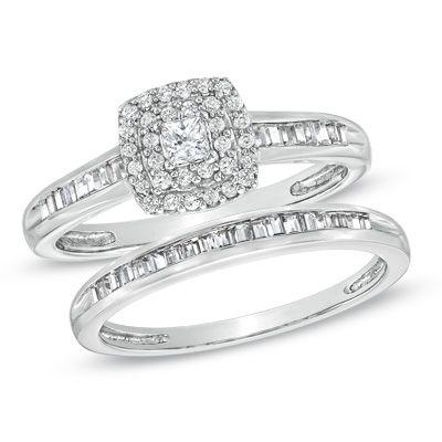 tw princess cut diamond double frame bridal set in 10k white gold - Zales Wedding Rings Sets