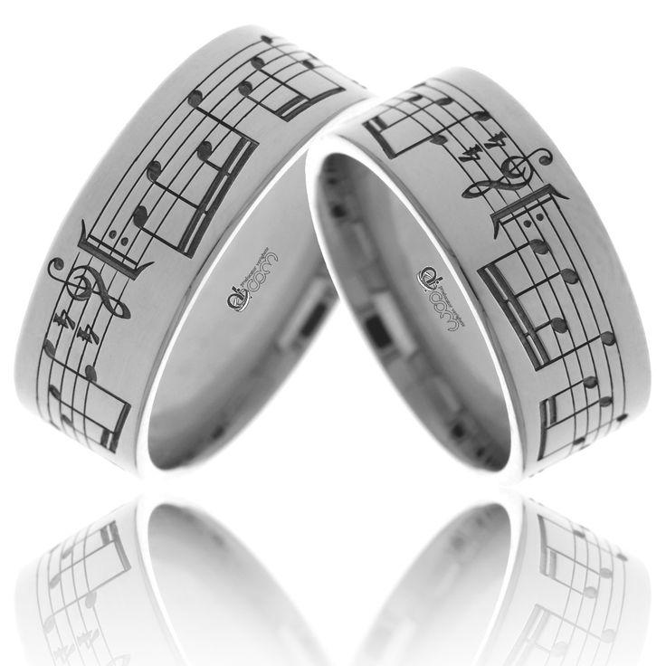 Verighete personalizate cu note muzicale SUNETUL IUBIRII aur alb
