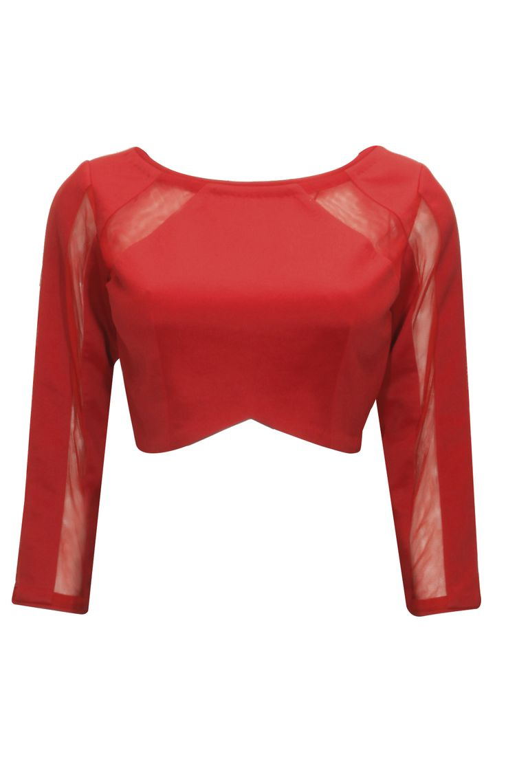 Red Color with Full Sleeves and Net Pattern for trendy women..