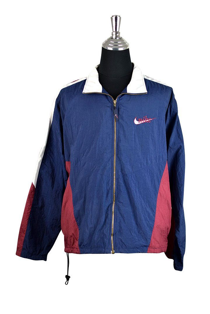 Nike Brand Spray Jacket :  Vendor: RetroStar Vintage ClothingType: JacketsPrice: 39.00  Nike brand spray jacket  Navy marroon and white panels  Logo embroidered to front  Metal zipper down front  Side pockets with zips  Tagged size M (Do not rely on tagged size. Please check measurements for actual size)  Small marks on shoulder  Light marks to front (Please see photos)  Chest: 64cm Length: 66cm
