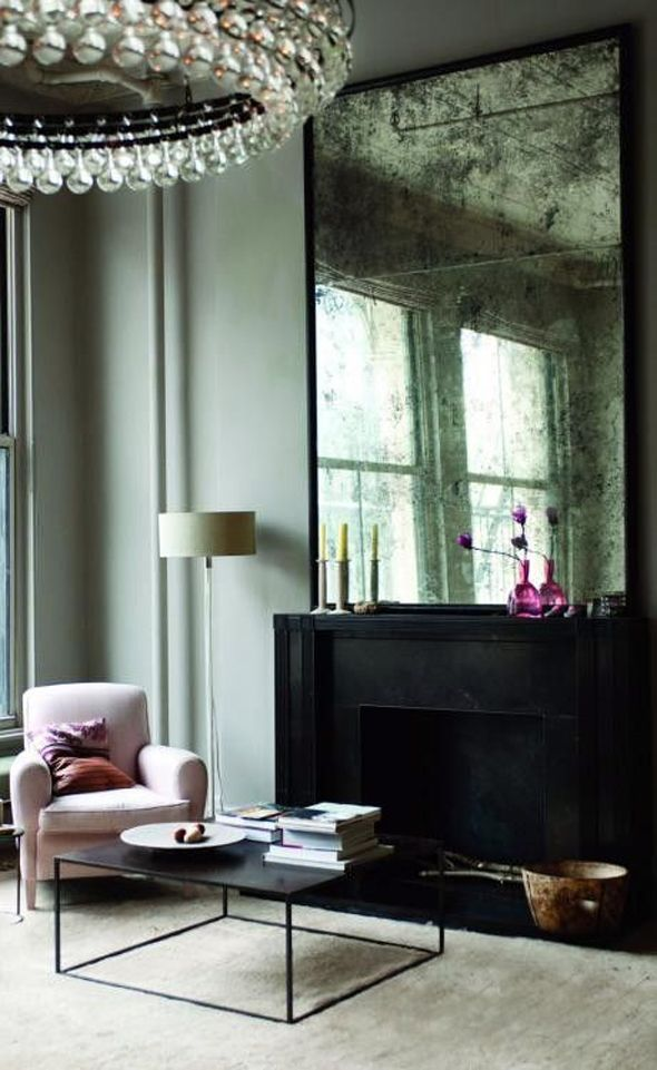 Antiqued mirror chunky fireplace home inspiration for Fireplace mirrors