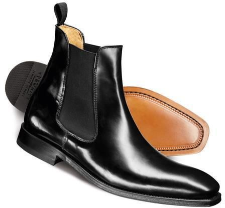 $199, Black Leather Chelsea Boots: Charles Tyrwhitt Black Albert Chelsea Boots. Sold by Charles Tyrwhitt. Click for more info: https://lookastic.com/men/shop_items/289850/redirect