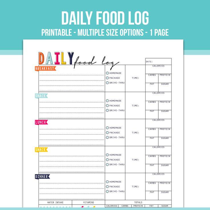 Best  Food Log Ideas On   Food Journal Printable