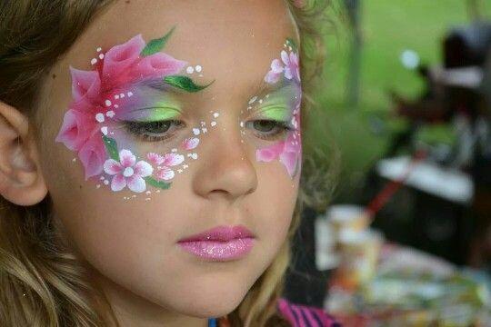 Masque floral - maquillage - fille - fleurs - flower - girl - make up - mask - enfants - kids - costume - déguisement - carnaval - carnival - halloween - fête - anniversaire