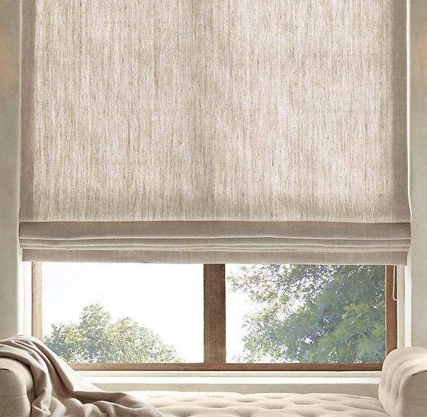 Textured Belgian Linen Flat Roman Shade | RH