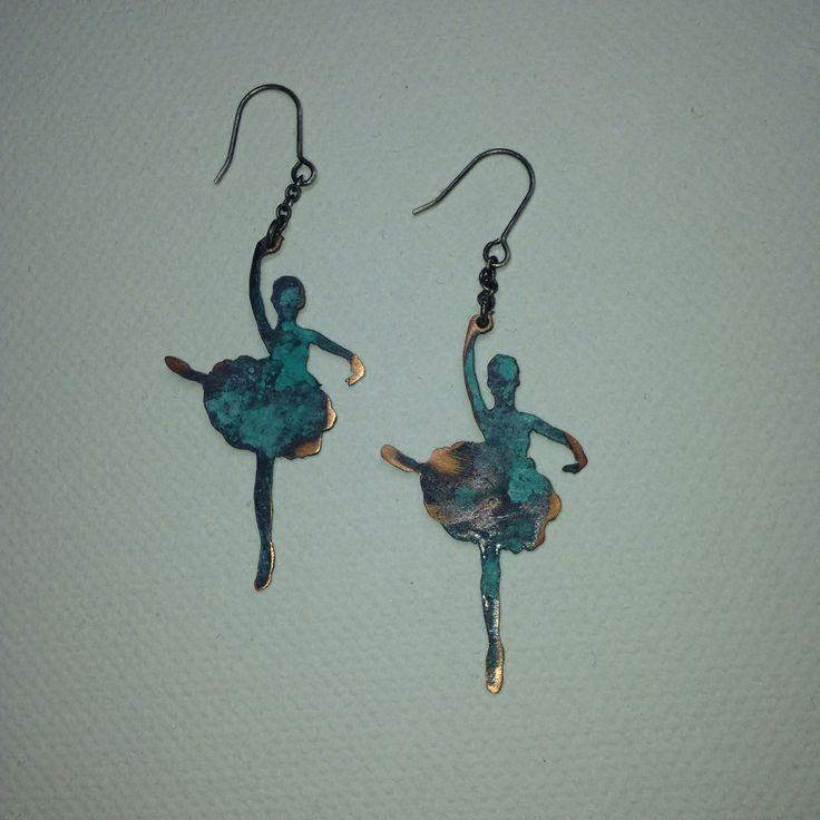 silver ballerina earrings
