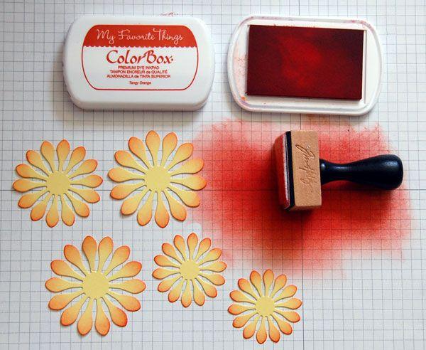 Inking Die-Cut Paper Flowers