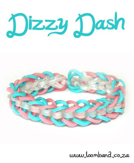 Dizzy Dash brcelet loom band tutorial http://loomband.co.za/dizzy-dash-loom-band-bracelet-tutorial/