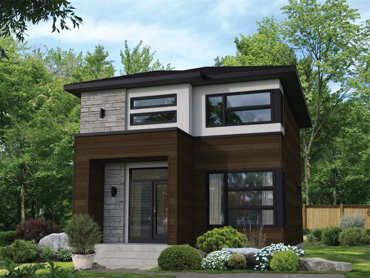 072h 0257 Modern Small House Plan In 2020 Small Modern House Plans Narrow Lot House Plans Small Modern Home