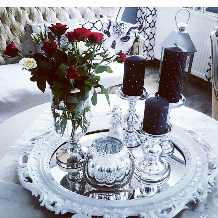 Kerzen # Silber deko # Blumen #