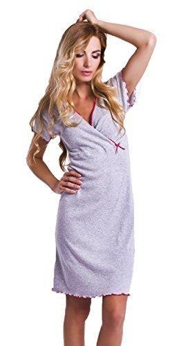 Oferta: 18.9€ Dto: -32%. Comprar Ofertas de DN de Nightwear Mujer premamá Camisón/Lactancia Camisa de noche de 100% algodón Grey/Pink L barato. ¡Mira las ofertas!