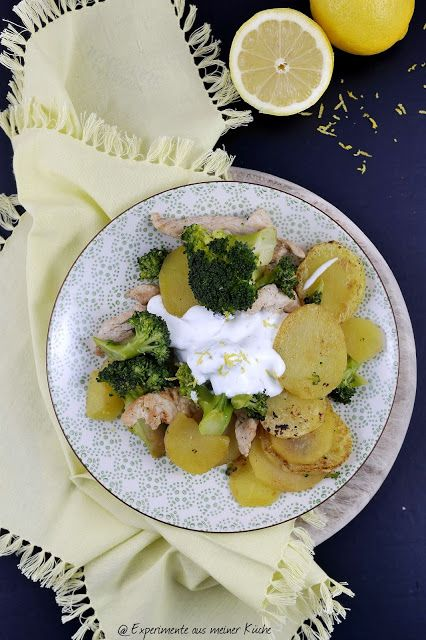 Experimente aus meiner Küche: Kartoffel-Brokkoli-Pfanne mit Zitronendip --> 9 SP pro Portion