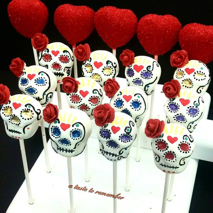 Sugar skull cake pops and heart cake pops