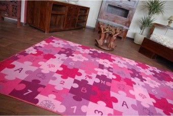 Dětský koberec Puzzle - fialový