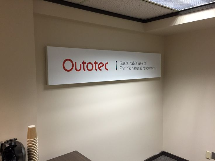 """2"""" Deep Non-Lit Metal Box finished with Digitally Printed Cut Contour Vinyl Graphics.  Printed, produced & installed by FASTSIGNS Vancouver for Outotec. www.fastsigns.com  #fastsigns"""