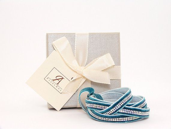 Aqua wrap Swarovski multi strand bracelet, aqua multi strand wrap swarovski crystal bracelet