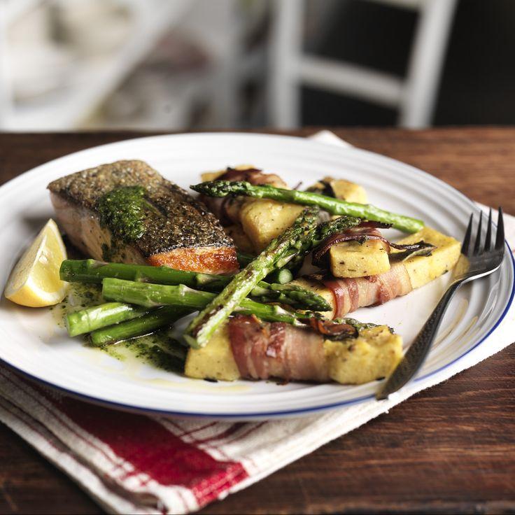 Crispy salmon, polenta chips and grilled asparagus | Recipe | Seasons ...
