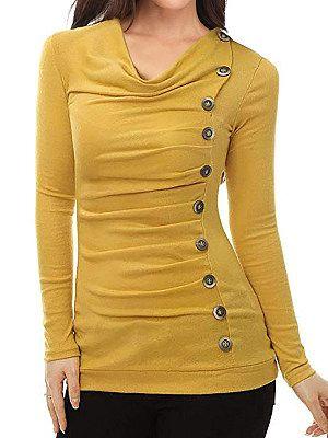 Haufen-Kragen-Patchwork-beiläufiges dekoratives Knopf-einfaches langes Hülsen-T-Shirt   – Long sleeve T-shirts